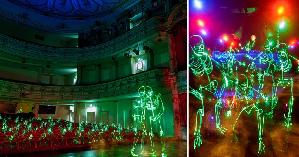 These Skeleton Light-Painting Photos Are Ultra-Long Single Exposures