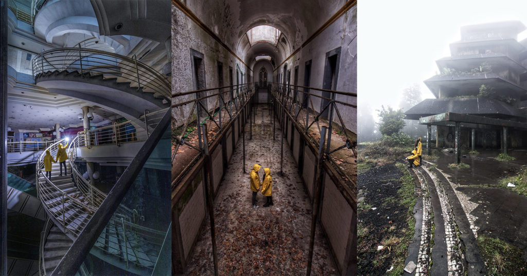 Couple Contrasts Abandoned Spaces and Colorful Coats in Surreal Photos