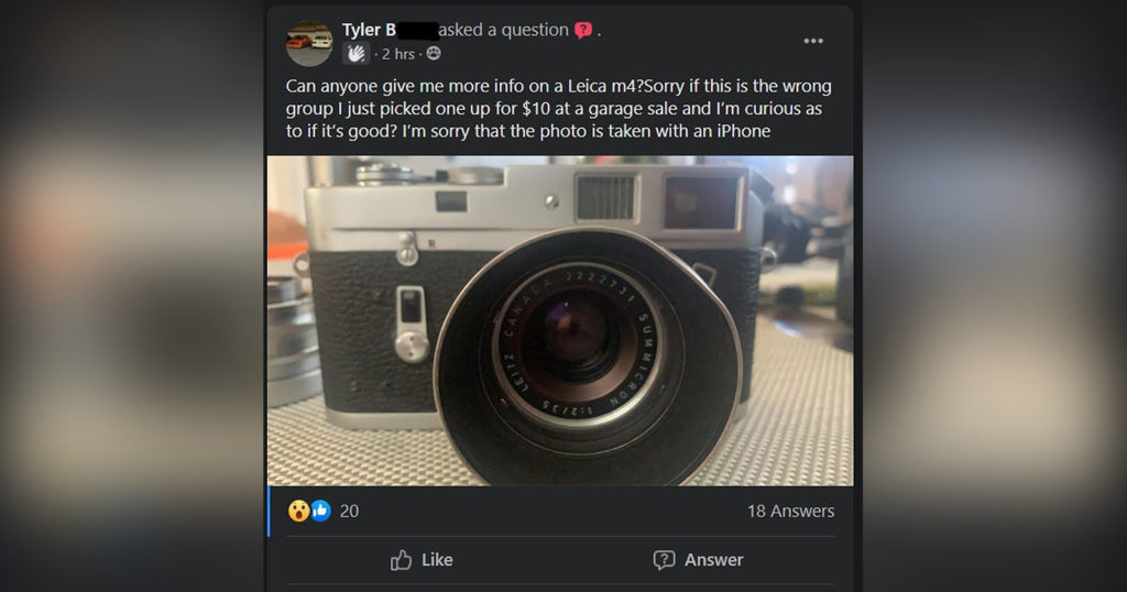 Teen Finds Entire Leica M Camera Kit at Church Sale for $15