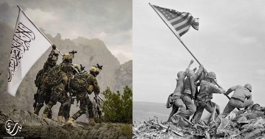 Taliban Mocks US by Recreating Iconic WWII Flag Raising Photo